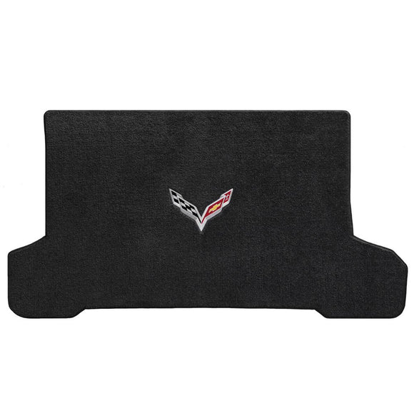 C7 Corvette Stingray (Convertible) Cargo Mat  - Lloyds Mats with C7 Crossed Flags: Jet Black