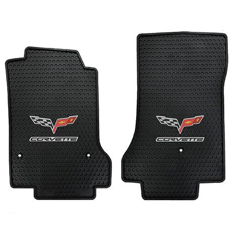 Rubber Corvette C6 Floor and Cargo Mats (2007.5 - 2013) with Hook Anchors