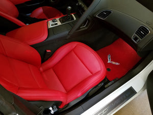 C7 Corvette Stingray Floor Mats with C7 Crossed Flags - Red