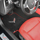 C7 Corvette Stingray Floor Mats with Crossed Flags - Lloyds Mats: Jet Black with Red Binding
