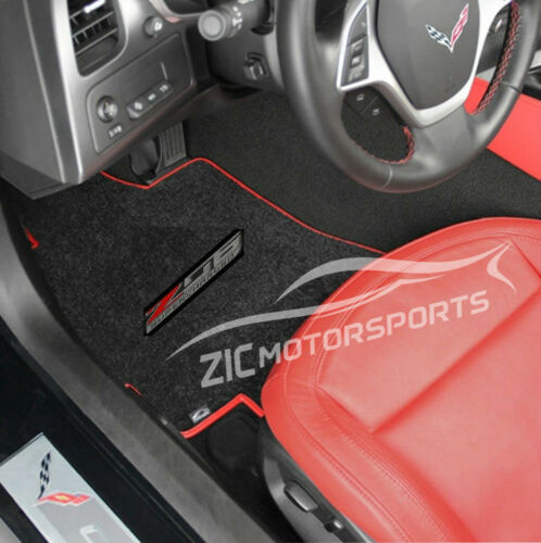 C7 Corvette Z06 Floor Mats - Lloyds Mats: Jet Black with Red Binding