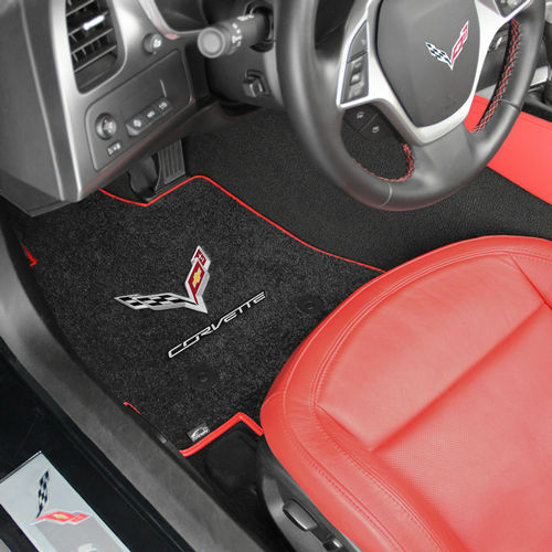 C7 Corvette Stingray Floor Mats with Crossed Flags and Corvette Script - Lloyds Mats: Jet Black with Red Binding