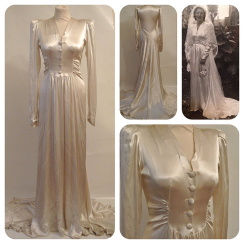 1940s ivory satin wedding dress