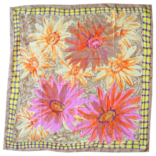 Hot pink and orange dahlia print 1960s scarf - Vintage Clothing, Vintage Stock, Vintage Dresses, Vintage Shoes UK
