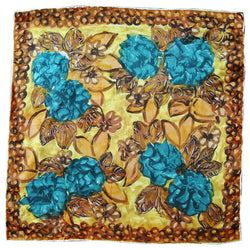 Teal and brown rayon satin floral vintage 1950s scarf - Vintage Clothing, Vintage Stock, Vintage Dresses, Vintage Shoes UK