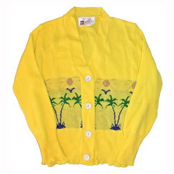 Bright yellow vintage unworn girls palm tree novelty knit cardigan age 8 - 10 - Vintage Clothing, Vintage Stock, Vintage Dresses, Vintage Shoes UK