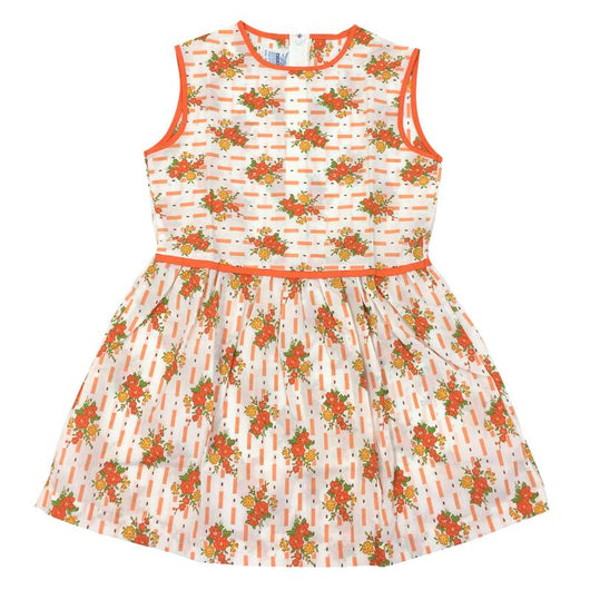 Orange floral print 1960s girls vintage summer day dress - Vintage Clothing, Vintage Stock, Vintage Dresses, Vintage Shoes UK