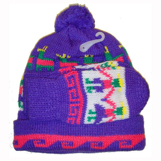 Nordic knit unworn vintage girls ski bobble hat and mittens set - Vintage Clothing, Vintage Stock, Vintage Dresses, Vintage Shoes UK