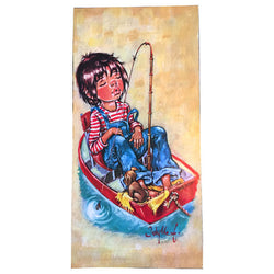 Sleeping boy in boat 1970s board mounted Jolylle print - Vintage Clothing, Vintage Stock, Vintage Dresses, Vintage Shoes UK