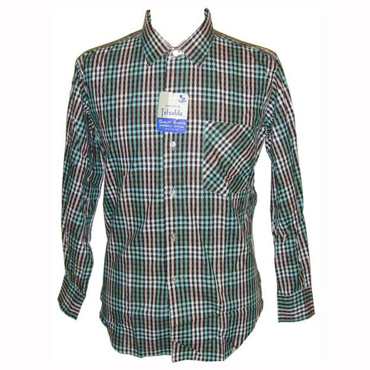 Jade green, black and white gingham checked unworn mod mens cotton shirt 15.5