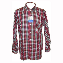 Crimson red, black and white gingham checked unworn mod mens cotton shirt 16