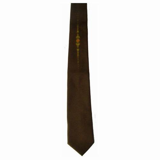 Mod dark brown vintage 1960s tie with deco starburst - Vintage Clothing, Vintage Stock, Vintage Dresses, Vintage Shoes UK
