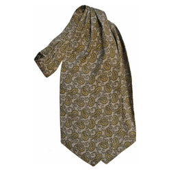 Mod pale grey and yellow paisley Tootal 1960s cravat - Vintage Clothing, Vintage Stock, Vintage Dresses, Vintage Shoes UK