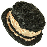 Plastic raffia 1960s black and peach hat - Vintage Clothing, Vintage Stock, Vintage Dresses, Vintage Shoes UK