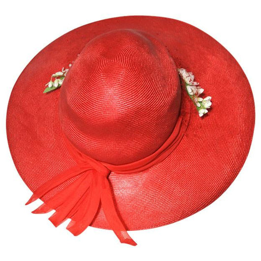 Red sisal 1970s wide brim summer hat - Vintage Clothing, Vintage Stock, Vintage Dresses, Vintage Shoes UK