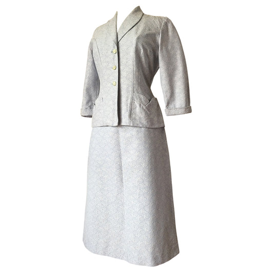 Baby blue and white jacquard early 1950s vintage skirt suit - Vintage Clothing, Vintage Stock, Vintage Dresses, Vintage Shoes UK