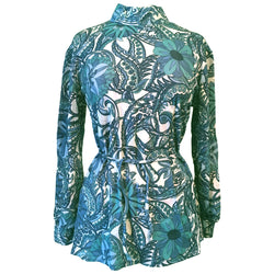 Psychedelic print vintage 1960s mod blue swirls belted tunic top - Vintage Clothing, Vintage Stock, Vintage Dresses, Vintage Shoes UK
