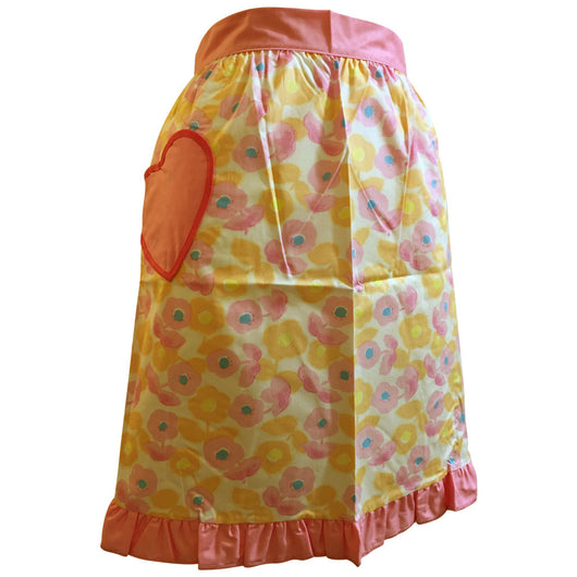Flower power unused 1960s apron with heart shaped pocket - Vintage Clothing, Vintage Stock, Vintage Dresses, Vintage Shoes UK