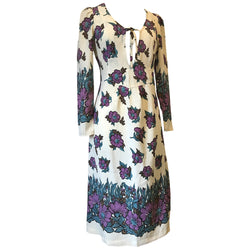 Clobber Jeff Banks deep lilac and teal floral late 1960s long sleeved hippy dress