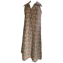 Floral cotton 1970s sleeveless flared summer day dress