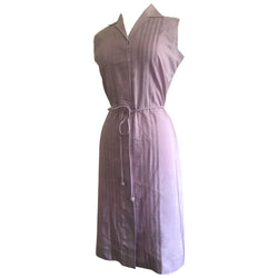 Pale lilac pure silk vintage 1980s belted day dress