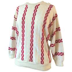 Red and white chainlink vintage 1980s batwing jumper