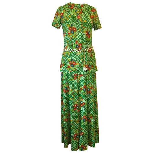 Spring green floral 1970s tunic top and maxi skirt suit