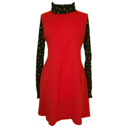 Red and black floral roll neck 1970s unworn mod mini dress