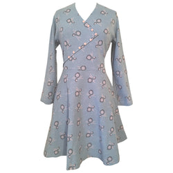 Powder blue vintage unworn 1960s deco sunflower dress