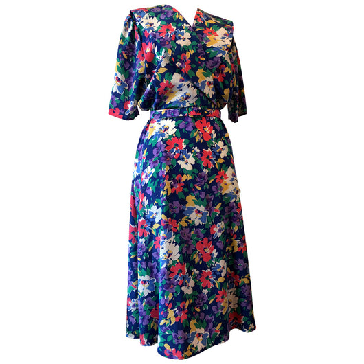 1980s does 1940s floral vintage belted day dress - Vintage Clothing, Vintage Stock, Vintage Dresses, Vintage Shoes UK