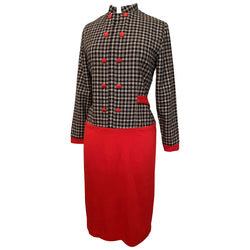 Red jersey and monochrome check vintage 1960s mod secretary dress