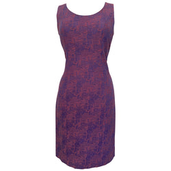 Abstract textured jacquard purple vintage 1960s dress