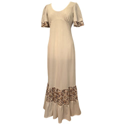 Dark cream and brown floral scoop neck 1970s hippy maxi dress