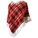 Tartan check vintage 1970s unworn fringed acrylic knit poncho - red, blue or green