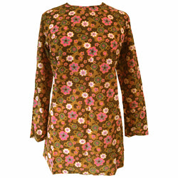 Flower power pink and brown vintage 1960s psychedelic brushed nylon tunic top - Vintage Clothing, Vintage Stock, Vintage Dresses, Vintage Shoes UK
