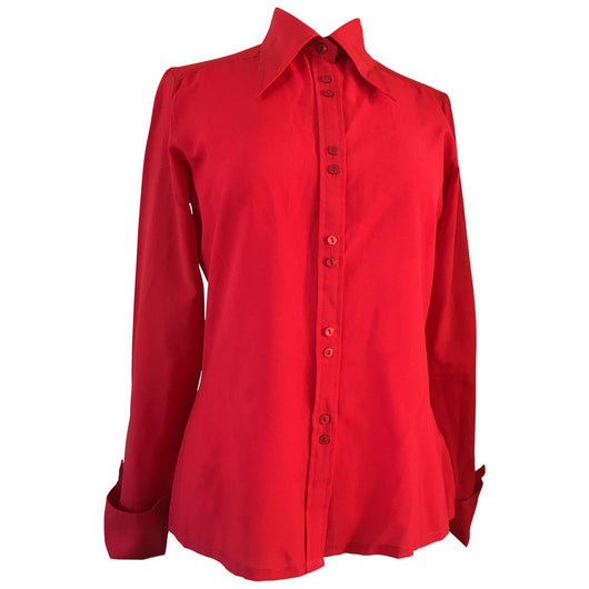 Bright red vintage 1970s wing collar blouse