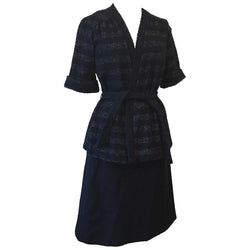 Midnight blue bouclé 1970s St Michael skirt and jacket suit