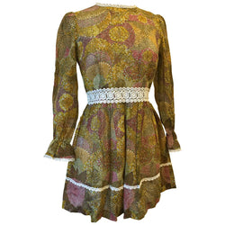 Mosaic sunflower floral 1960s hippy mini dress