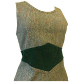 Flecked green tweed wool 1970s pinafore dress with corduroy waist panel