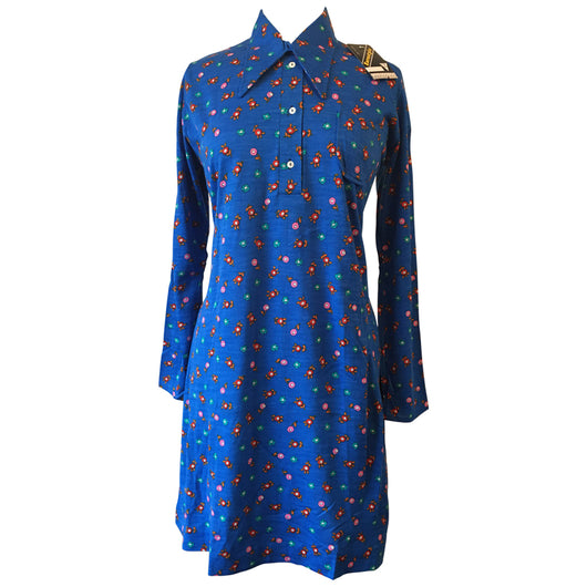 Cobalt blue floral 1970s unworn vintage shirt dress