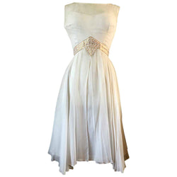 White chiffon angelic 1960s vintage party dress with gold trim waist