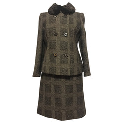 Herringbone check wool tweed vintage 1960s skirt suit with faux fur collar - Vintage Clothing, Vintage Stock, Vintage Dresses, Vintage Shoes UK