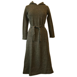Brown 1970s unworn vintage wool hooded dress
