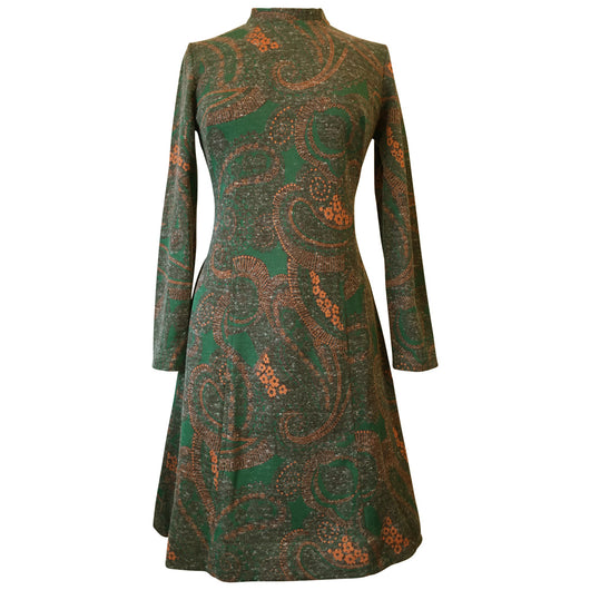 Green, orange and brown acrylic and angora 1960s unworn paisley day dress