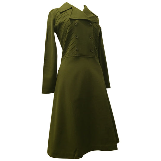 Olive green jersey courtelle 1970s unworn pintuck bodice day dress