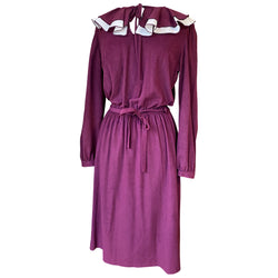 Damson purple brushed nylon late 1970s frill collar day dress