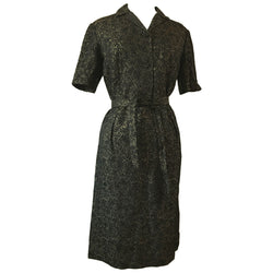 Glittering textured gold and black 1950s belted dress