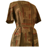 Late 1950s brown abstract print vintage day dress