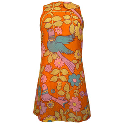 Flower power daisies and birds bright orange 1960s semi sheer mini dress