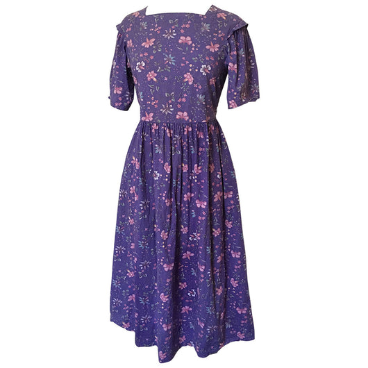 Purple floral cotton vintage 1980s Laura Ashley day dress
